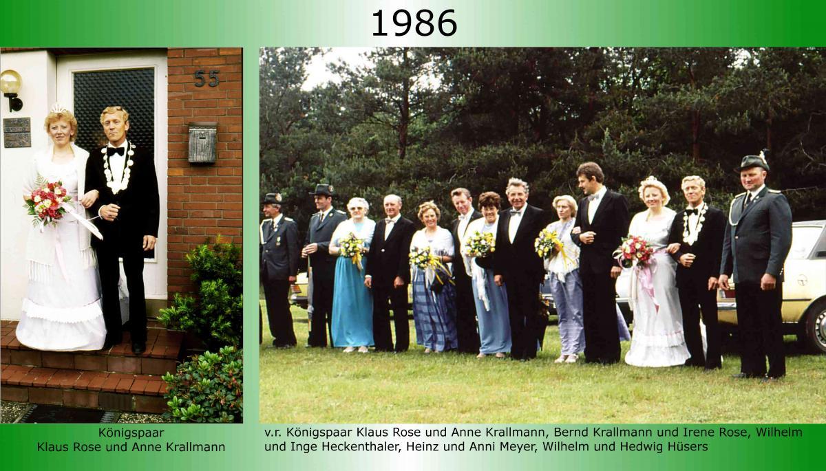 1986 Koenigspaar Thron Klaus Rose